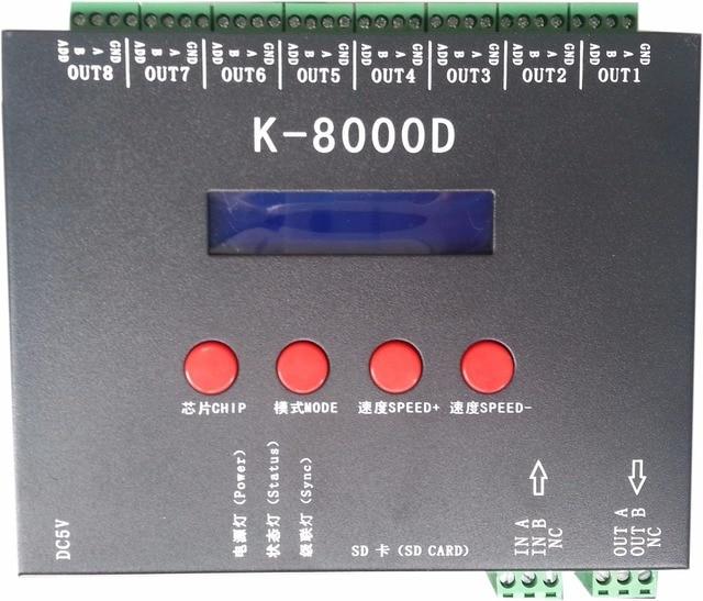 K-8000D; 8 ports (512 pixels * 8) contrôleur de pixels de carte SD DMX; pour puce/DMX512AP-N/WS2821A/UCS512.etc standard dmx512
