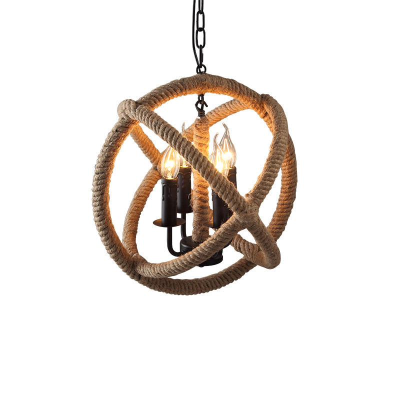 GZMJ Wonderland Hand Knitted Vintage Hemp Rope Pendant Lamp/Light Round Loft Iron Ball American Country Fixtures for Restaurants ascelina vintage wicker pendant lamp hand knitted hemp rope iron pendant light loft lamps american lighting edison bulb for home