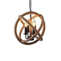 GZMJ Wunder Hand Strick Vintage Hanfseil Anhänger Lampe/Licht Runde Loft Eisen Ball American Land Leuchten für Restaurants
