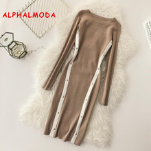 ALPHALMODA OL Graceful Knitting Vestidos Winter 2018 Women New Block Color Rivet Striped Dress Slim Pullovers Knit Vestido