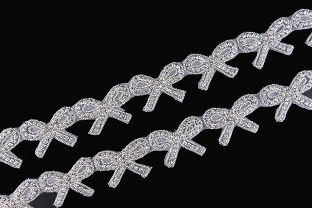 10Yard Lovely Bows Shape Rhinestone Applique Trim Handmade Hot Fix Beaded  Crystal Trimming For Girl Wedding Bridal Belt Sash 2879dd6efc5d