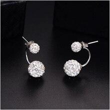 Double Side Fashion Crystal Disco Ball Stud Earrings