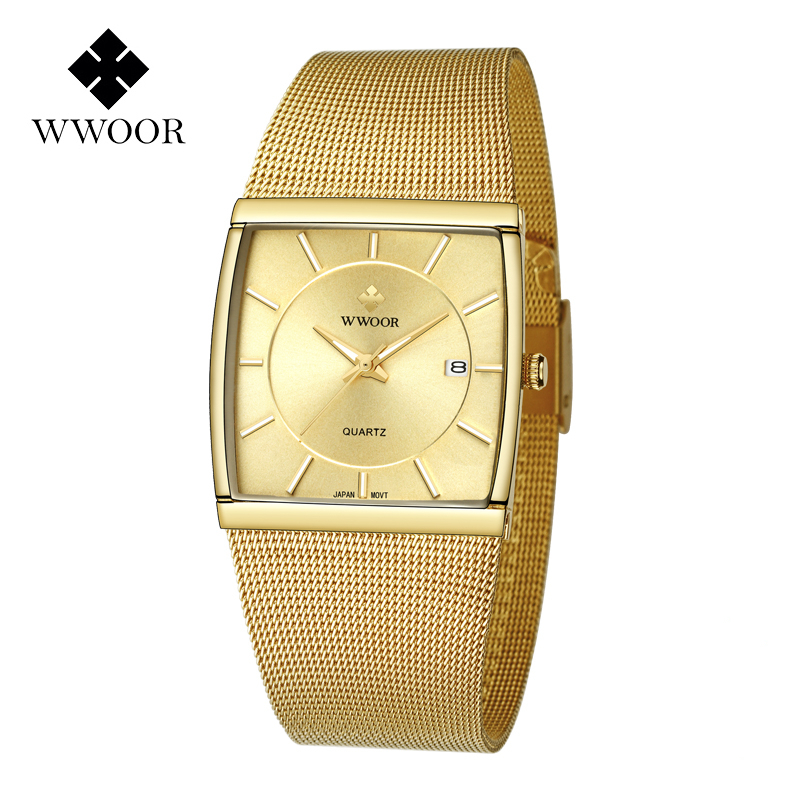 WWOOR Men Watches 2019 Luxury Brand Gold Watch Men Square Quartz Waterproof Sport Wrist Watches For Male Clock Relogio Masculino