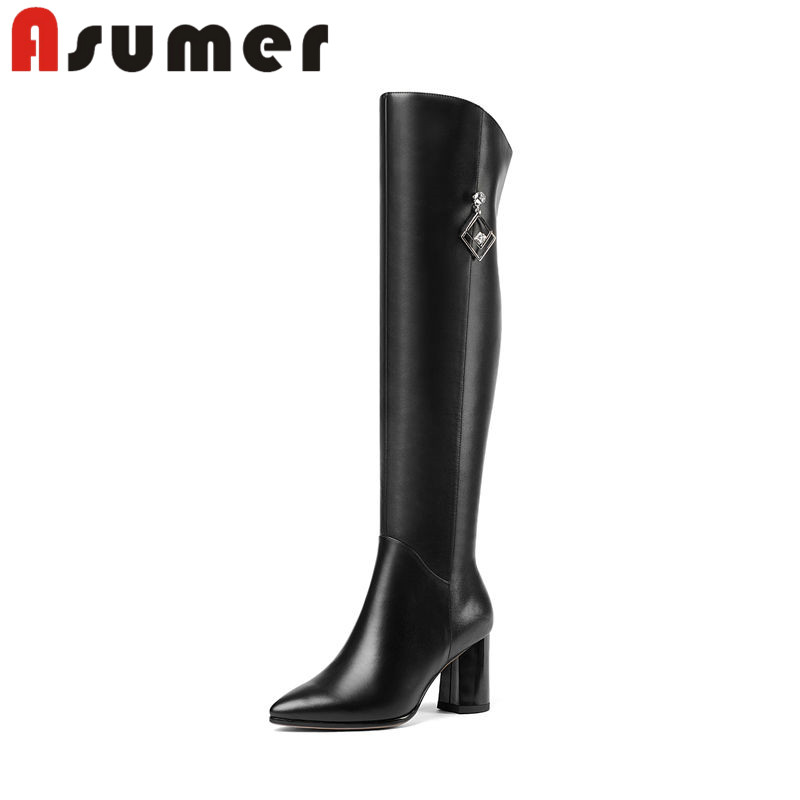 ASUMER 2018 NEW fashion pointed toe pu+genuine leather boots crystal adult sexy high heels boots thick heels over the knee bootsASUMER 2018 NEW fashion pointed toe pu+genuine leather boots crystal adult sexy high heels boots thick heels over the knee boots