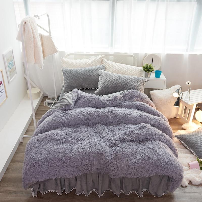 Dicke Fleece Warme Bettwäsche set Lila Beige Rosa Grau König Königin twin größe Bett blatt/rock set Bettbezug für Mädchen Kissen-in Bettwäsche-Sets aus Heim und Garten bei  Gruppe 2