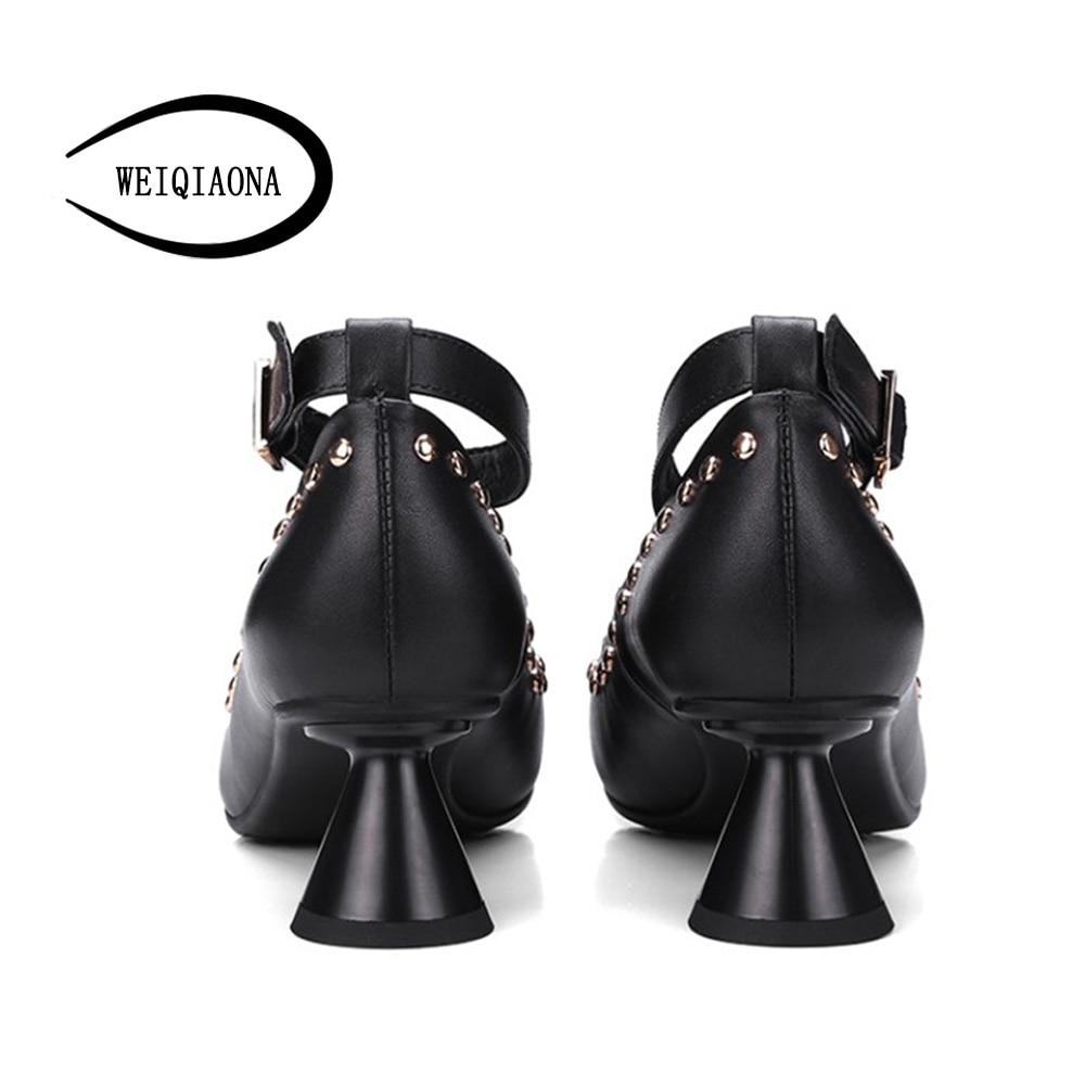 De Señaló Sexy Cuero Vestido Negro Genuino Remache Del Individual Mediados Zapatos Correa Partido desnuda Femenino Weiqiaona Bombas Tobillo Elegante Moda Tacones ZO8YqY