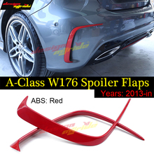For Mercedes Benz W176 A45AMG Red Rear Bumper Air Vent  Molding Trim canards Splitter ABS for Benz A180 A200 A250 A45AMG 2013-18