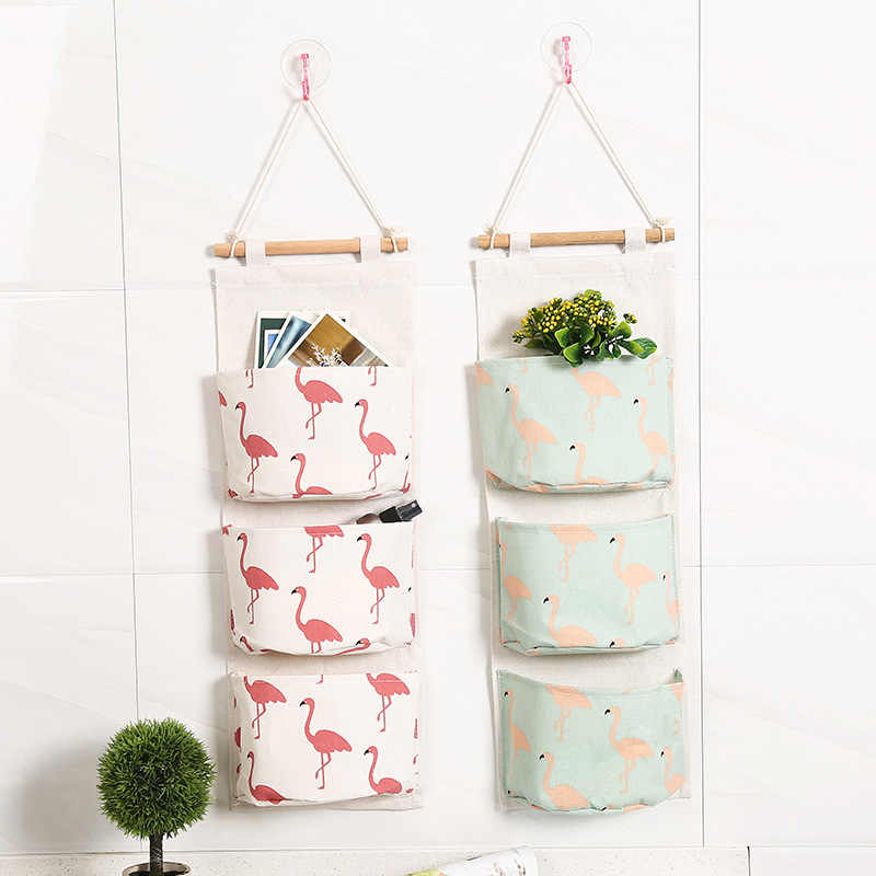 Cute Wall Hanging Storage Box 3 Grids Cotton Linen Organizer Bag Sundries Makeup Jewelry Storage Box Basket Home Decoration 1pcs