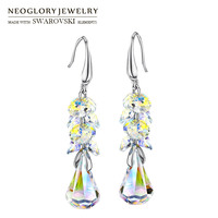Neoglory MADE WITH SWAROVSKI ELEMENTS Crystal Long Dangle Earrings Alloy Platinum Plated Elegant Geometric Style Romantic
