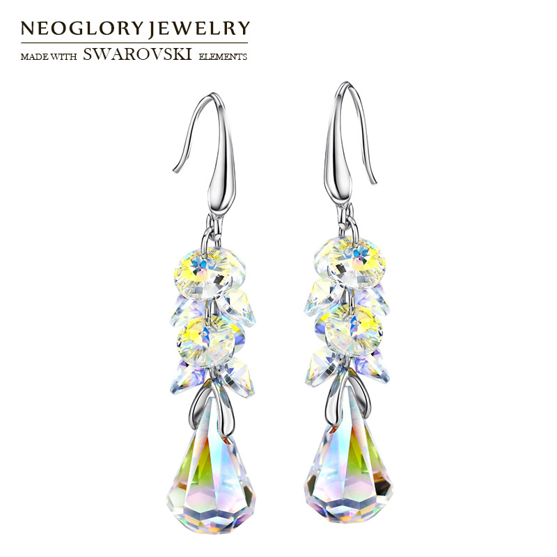 Neoglory MADE WITH SWAROVSKI ELEMENTS Crystal Long Dangle Earrings Alloy Plated Elegant Geometric Style Romantic Gift