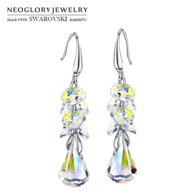 Neoglory MADE WITH SWAROVSKI ELEMENTS Crystal Long Dangle Earrings Alloy  Plated Elegant Geometric Style Romantic Gift 4d94dd38adf3