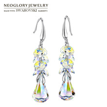Neoglory MADE WITH SWAROVSKI ELEMENTS Crystal Long Dangle Earrings Alloy  Plated Elegant Geometric Style Romantic Gift f8d7fa607d3e