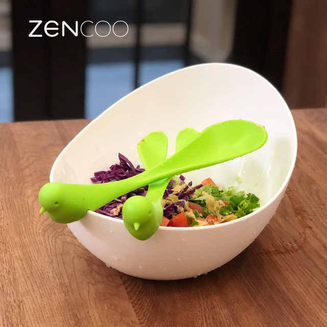 ZENCOO Extra Large Salad Bowl With Creative Fork U0026 Spoon, Kitchen Tools Of Fruit  Bowl