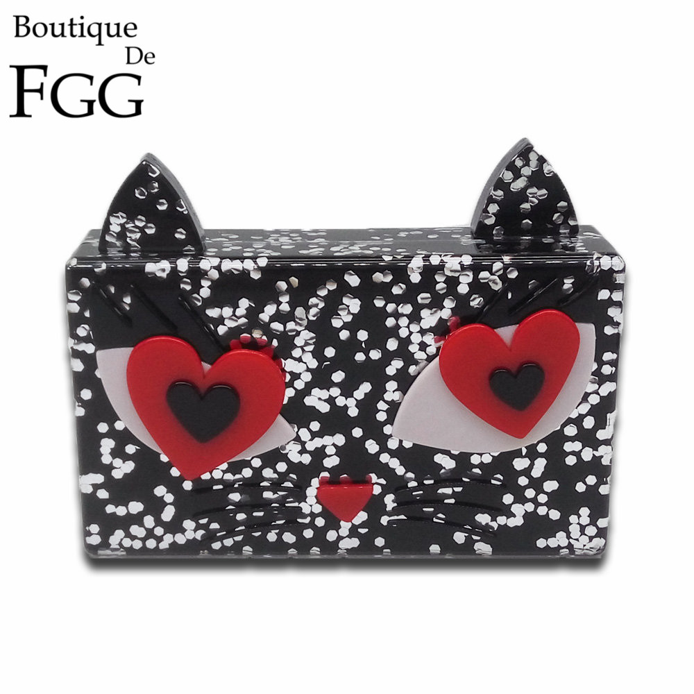 Black Dot Cat Shape Women Mini Acrylic Heart Evening Box Clutch Bag Ladies Dinner Party Chain Shoulder Handbag Hard Case Purse от Aliexpress INT