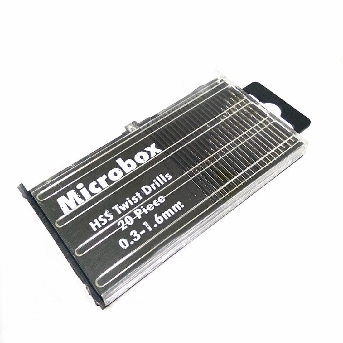 20Pcs/set 0.3mm-1.6mm Mini High Speed Steel HSS Micro Twist Drill Bit Set Power Tools Model Craft With Case Repair Parts Taladro