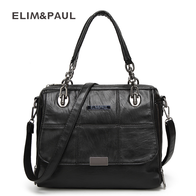 ELIM&PAUL Handbag Shoulder Bag Women Tote Crossbody Bag Female Fashion Solid Soft PU Women Leather Bag Sac a Main Bolsa Feminina dumas a le capitaine paul