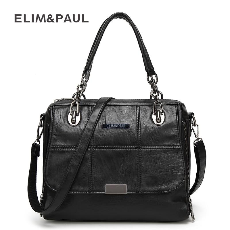 ELIM PAUL Handbag Shoulder Bag Women Tote Crossbody Bag Female Fashion Solid Soft PU Women Leather