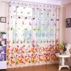 Image 5 - 다채로운 나비 인쇄 된 tulle 창 화면 깎아 지른 voile 문 커튼 드레이프 패널 또는 스카프 모듬 된 커튼