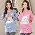 Spring/Autumn style pajamas sets Women Female Sleep set with Lovely Cats homewear O-Neck Long Sleeve Womens Pajamas