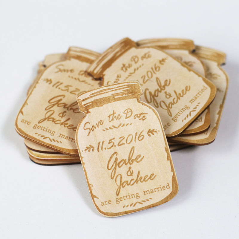 Custom Mason Jar Magnets Wood Save The Date Magnets Engraved