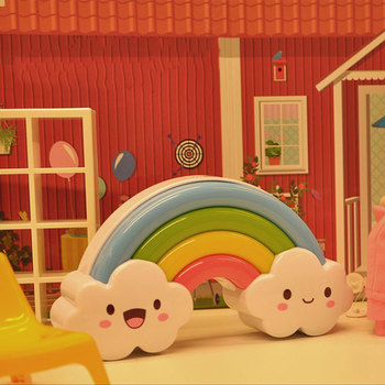 Luz LED de noche colorida pegatina de pared de arco iris lámpara de noche de habitación de bebé Sensor de sonido lámparas JA55