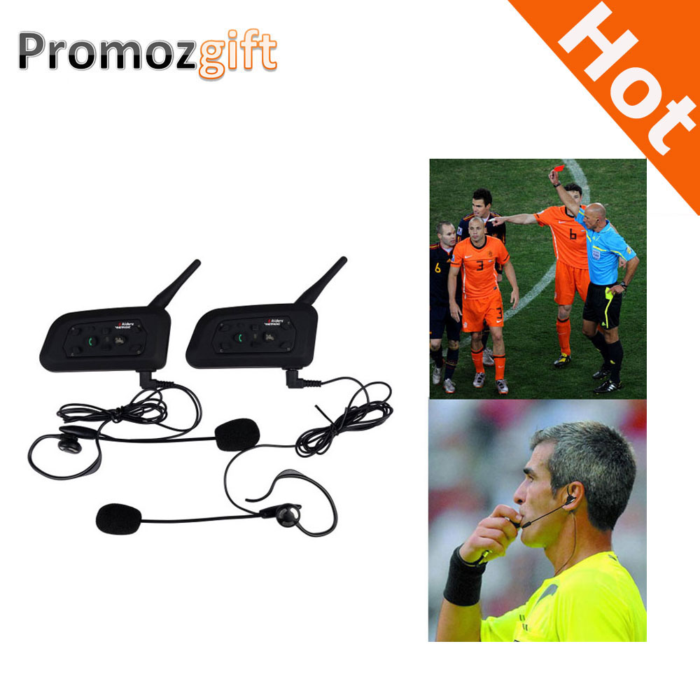 2016 2PCS V6 1200M Intercom Full Duplex Two way Football Referee Coach Judger Arbitration withe Earhook