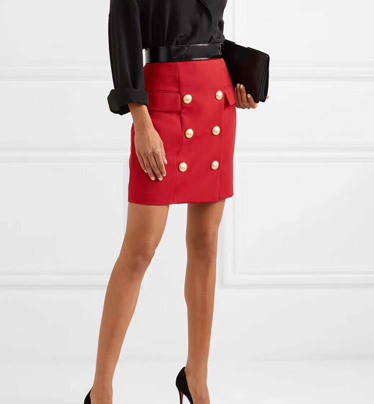 2e3fc7ab7 WISHBOP 2018 Solid RED BLACK Front Double Breasted Gold Tone Embossed Button  up MINI SKIRT Flap Pocket Detail Zipper Back