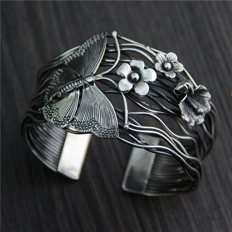 Real 925 Sterling Silver Butterfly And Flower Bangle For Women Exaggerated Wide Cuff Bracelet Wave Wire Handmade Jewelry