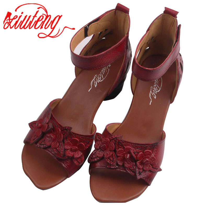 2017 Summer Thick high heels Sandals New Genuine Leather Women Shoes Flower Personality Leisure Women Handmade Sandals sapato