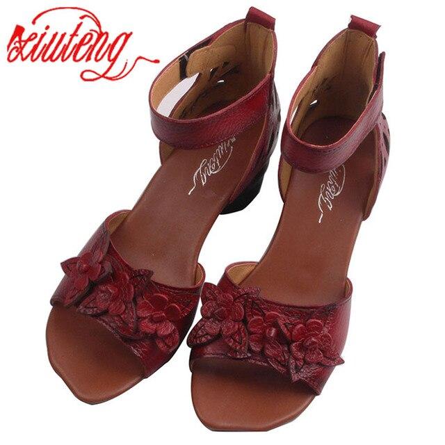 Xiuteng Yeni Yaz Kalın yüksek topuklu Sandalet Hakiki Deri Kadın Ayakkabı Çiçek Kişilik Eğlence Kadın El Yapımı Sandalet sapato