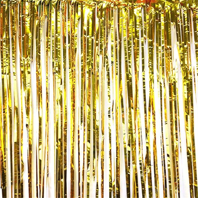 1*2M Hanging Metallic Gold Foil Fringe Curtain Backdrop For Dessert Table  Photo Booth Birthday