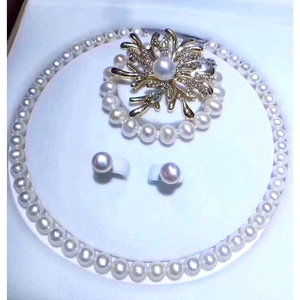 MADALENA SARARA 8-9mm AAA proche collier de perles d'eau douce rondes Bracelet et boucle d'oreille ensemble pour cadeau de bijoux