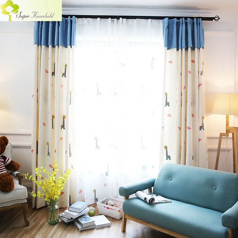Cartoon Giraffe Embroidered Curtains for Children Bedroom Faux Linen Korean Tulle Window Sheer Curtain (Without Blue Fabrics)