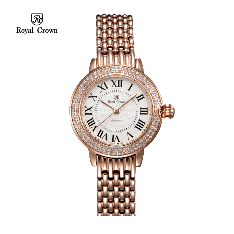 Luxury Lady Women's Watch Ronda Mov't Sapphire Crystal Fine Fashion Hours Stainless Steel Bracelet Girl Gift Royal Crown Box sapphire crystal fine women s watch ronda mov t all stainless steel bracelet lady hour girl s gift retro clock royal crown
