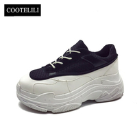 COOTELILI Spring Women Sneakers Platform Shoes Woman Casual Pumps Ladies Lace Up Mesh Creepers Zapatos Mujer