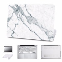 5 In 1 Bundle For Macbook Case White Marble Cover For Air Pro 11 12 13