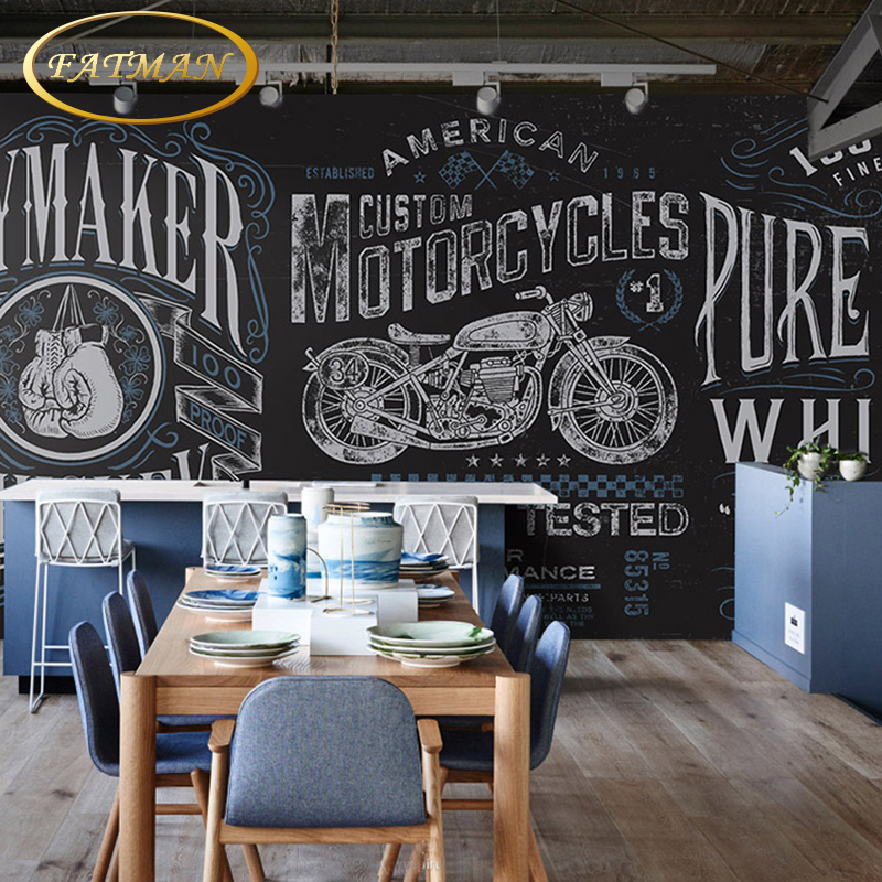 Custom 3D Photo Wallpaper Vintage Nostalgic Motorcycle Blackboard Graffiti KTV Bar Mural Papel De