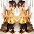 New Girls Clothing Sets Baby Kids Clothes Suit Children Short Sleeve Gold T-Shirt +Pants roupas infantil meninas 19