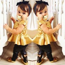 New Girls Clothing Sets Baby Kids Clothes Suit Children Short Sleeve Gold T-Shirt +Pants roupas infantil meninas 19