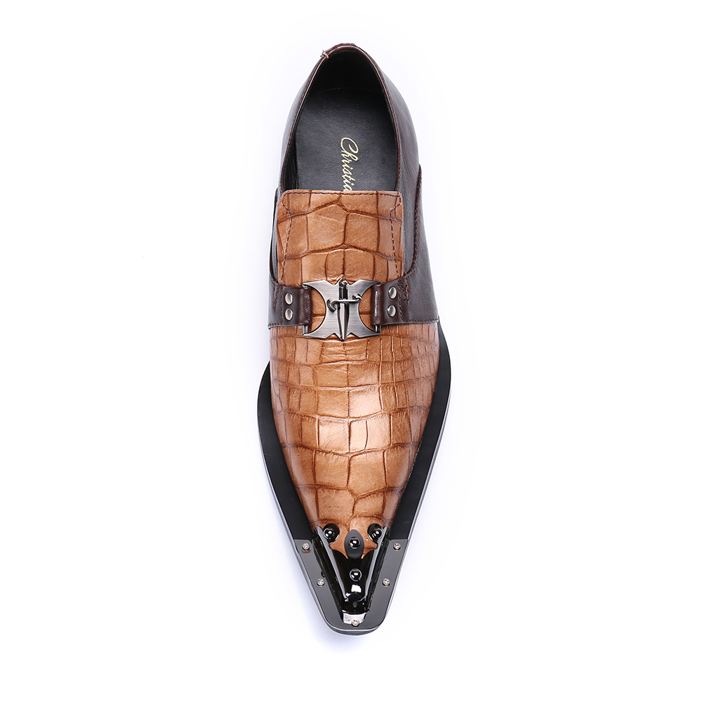 d5586558ea Christia Bella Snakeskin Genuine Leather Handmade Fashion British Business  Suits Men's Shoes Gold Tip Toe Mens Party Dress Shoes-in Formal Shoes from  Shoes ...