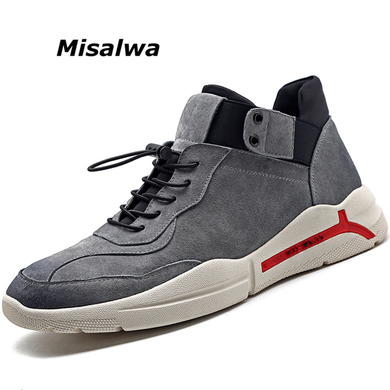 Misalwa Men s Leather Casual Shoes Suede Men Loafers Luxury Brand Lace Up Male Shoes Sneakers