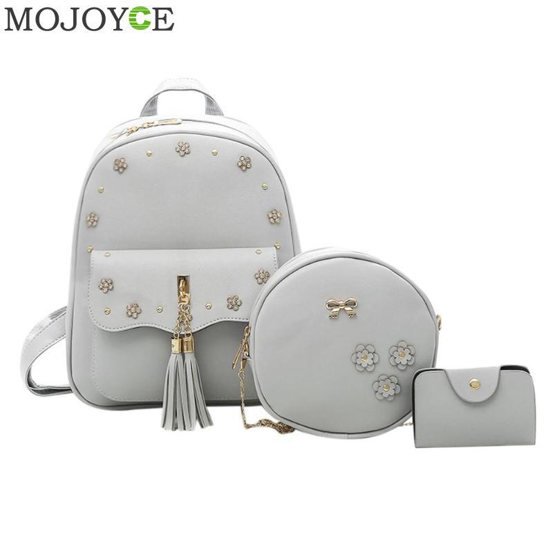 3pcs Women Flowers Tassel Backpack Pu Leather Soft Backpack Shoulder Bag Round Card Composite Bags Mochila Feminina Bags Mochi