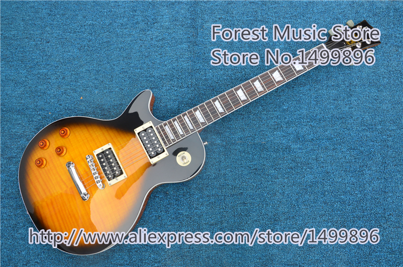 Vintage Sunburst Finish Slash Electric Guitar China Left Handed LP Guitars For Sale new arrival slash signature left handed lp guitar electric vintage sunburst tiger flame china guitar body custom