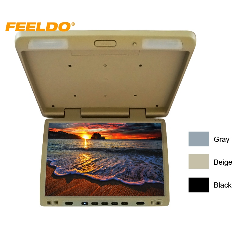 FEELDO DC12V Truck Bus 17 TFT LCD Roof Mounted Monitor Flip Down Monitor For Car DVD Player 3-Color #CT-1294