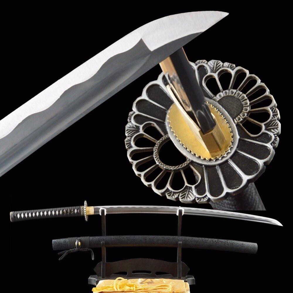 SHI JIAN Černý samurajský meč Sharp Japanese Katana Battle Ready Cutting Practice Nože Full Tang Espada 1060 Carbon Steel Katana