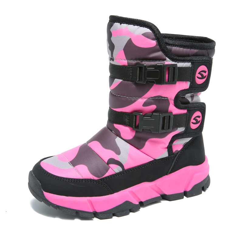 HOBIBEAR Waterproof Girls Boots Round Toe Mid-Calf Winter Snow Boots For Children Outdoor Warm Kids Shoes Platform Fashion 2018 цена