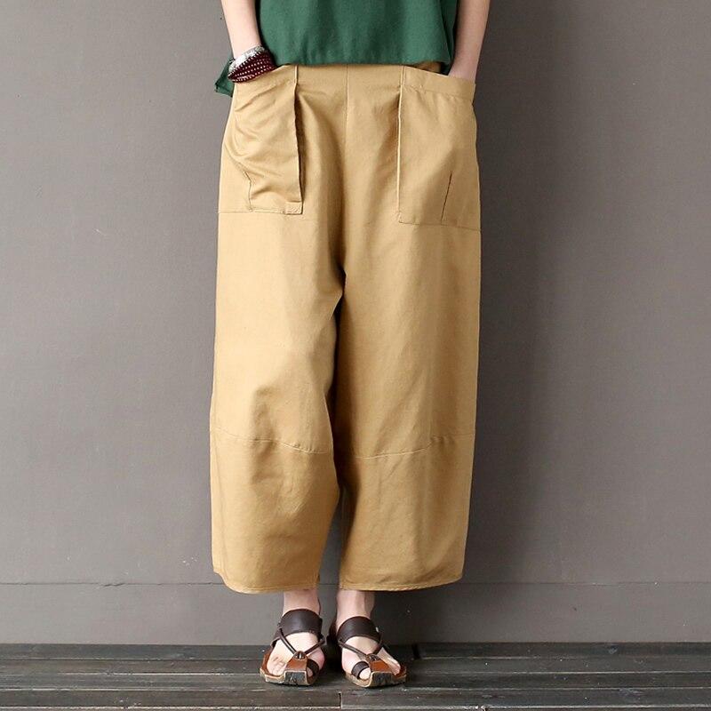Linen Cotton Elastic waist Women Wide leg Pants Loose Casual Novelty design Summer Pants Solid Khaki Black Capris Trousers A093