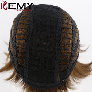 Image 5 - Medium Brown 4# Short Human Hair Wigs With Bangs KEMY HAIR Brazilian Straight Bob Wigs For Black Women Non Remy Fashion Hair
