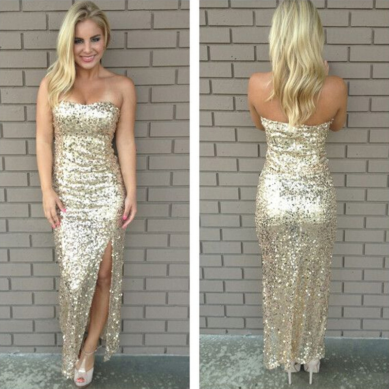 On Sale Light Gold High Leg Split Sequined Sheer Sexy Cheap Prom