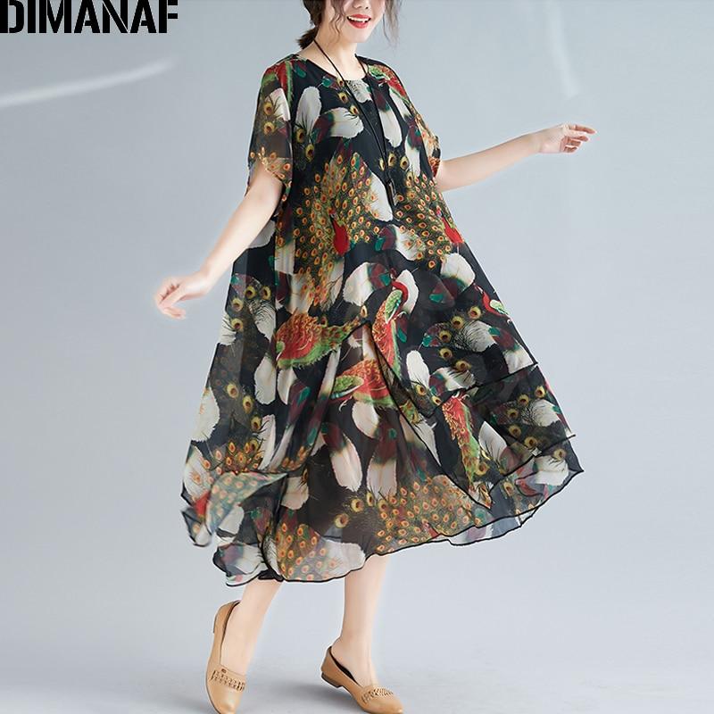 f0cc68ecfe9c3 DIMANAF Plus Size Women Print Dresses Vintage Elegant Lady Vestidos Chiffon  Beach Dress Summer Sundress Loose Casual Female 2019